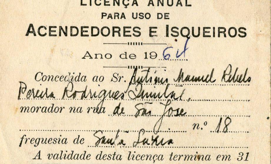 Licença para uso de acendedores e isqueiros (frente)