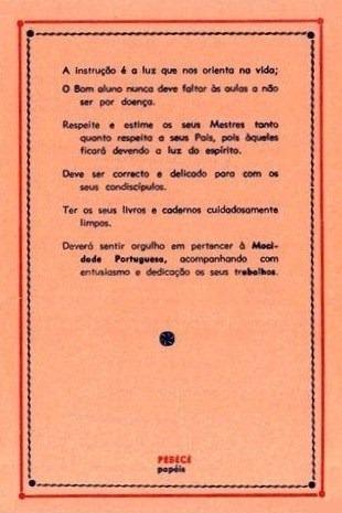 Contra-capa da Tabuada usada em várias escolas durante o Estado Novo