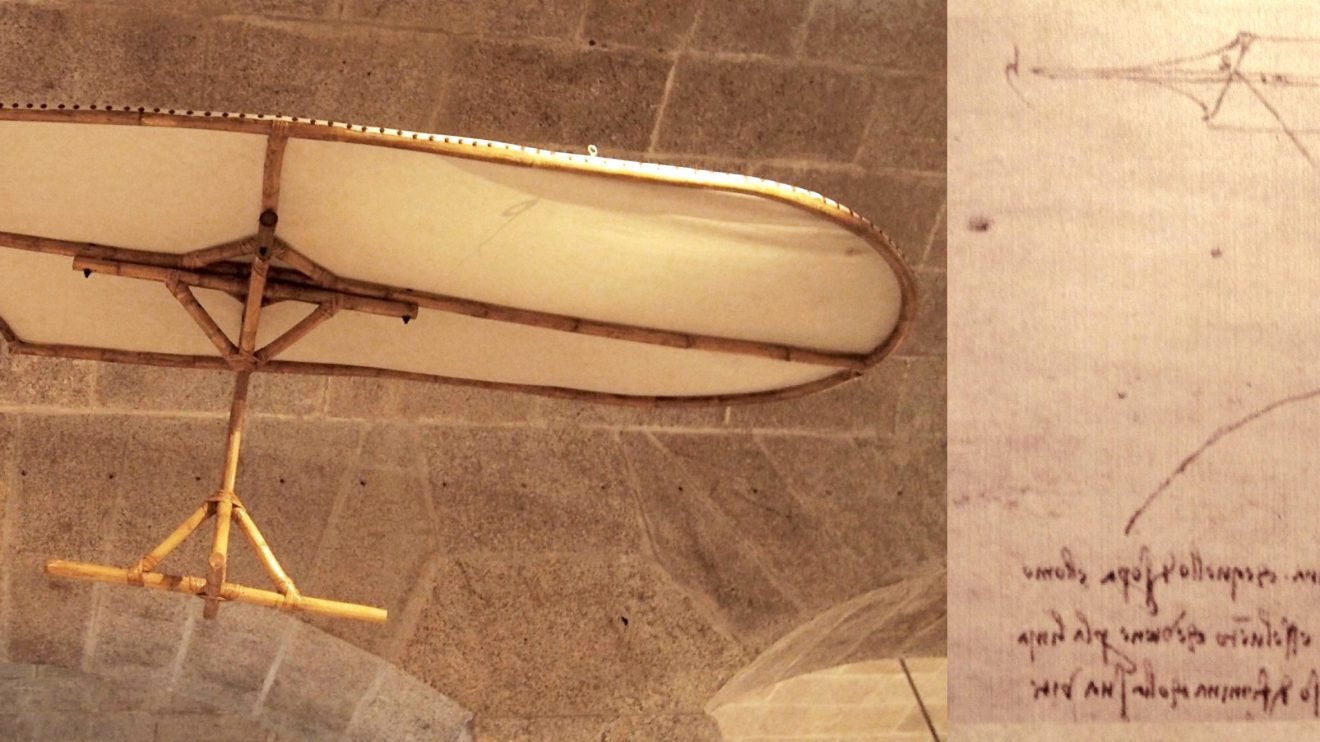 Asa-delta - A asa-delta está entre os conceitos mais originais de Leonardo no que diz respeito ao voo. Neste caso, o piloto conseguia mudar o centro de gravidade do dispositivo e controlar a sua direção ao mudar a posição do tronco. Esta invenção demonstra o seu conhecimento sobre as correntes de ar, a força do vento e de como elas se aliam permitindo a planar.