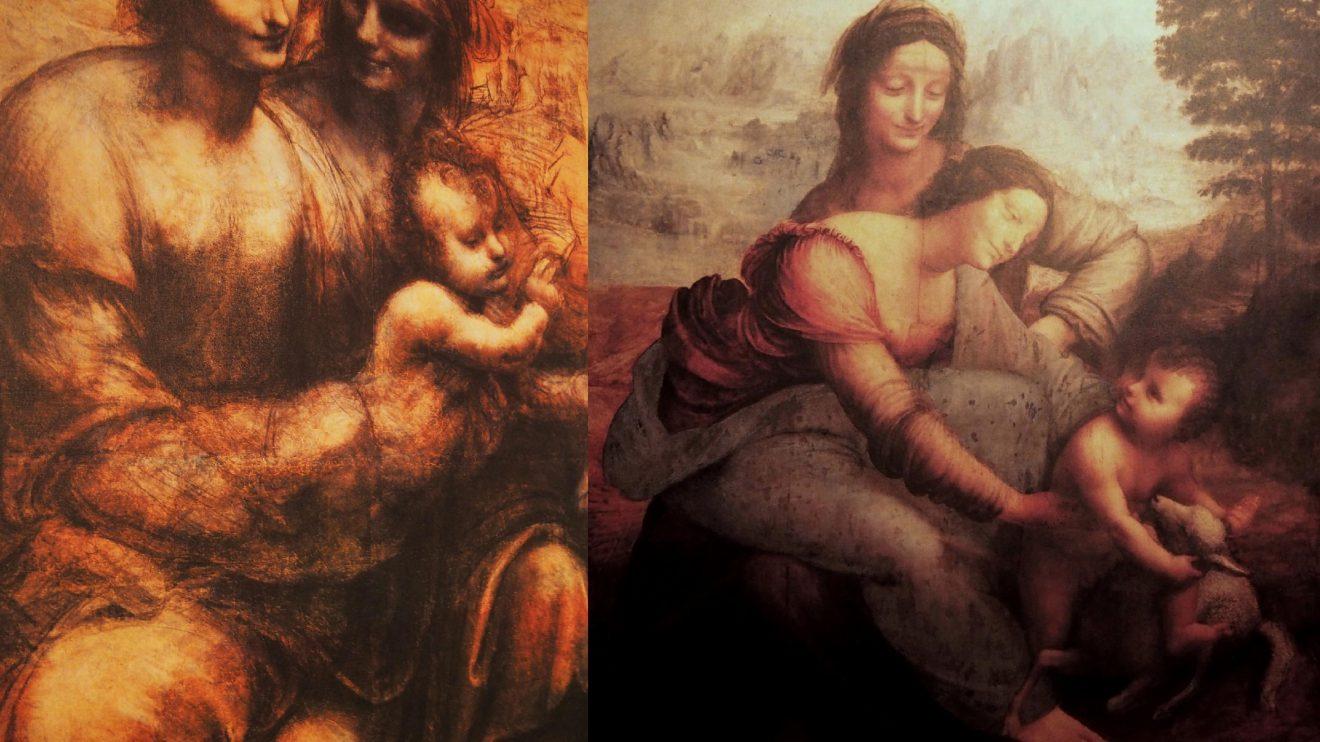 """À esquerda: """"A Virgem, o Menino, Santa Ana e São João Batista""""; à direita: """"A Virgem e o Menino com Santa Ana"""" - A imagem da esquerda apresenta um estudo para a pintura à direita, A Virgem e o Menino com Santa Ana. A comparação entre ambas as imagens permite inferir o sentido em que Leonardo trabalhava, como orientava o seu pensamento. Assim, no estudo as figuras são quatro, com São João Batista aludindo ao batismo de Cristo; Maria e Ana que estão à mesma altura, quase lado a lado; e Jesus ao colo de Maria. O grupo cria um grande corpo maciço numa composição estática e quase não dando destaque a nenhuma das duas figuras femininas. Na pintura, versão final, as figuras estão reduzidas a três: São João foi substituído pelo cordeiro, símbolo da Paixão; as figuras encontram-se dispostas em pirâmide, com Santa Ana atrás, olhando delicadamente para sua filha, Maria, que surge curvada, segurando seu filho, Jesus, que por sua vez segura o cordeiro. A ligação entre eles é uma cadeia em elo, cujas formas em diagonal e arqueadas conferem grande dinamismo. Este modo compositivo dinâmico é inovador para a época e foi utilizado por tantos outros pintores, entre eles Rafael e Miguel Ângelo. De notar também a técnica do sfumato, outra invenção revolucionária de Leonardo, que foi aqui levada à perfeição.  Uma interpretação para esta representação é o encontro das três gerações."""