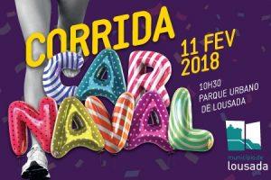 Cartaz da 5ª Edição da Corrida do Carnaval de Lousada.