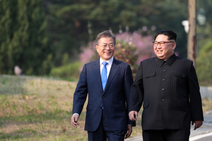 Kim Jong-un and Moon Jae-in a 27 de abril de 2018 [Foto:Korea Summit Press Pool]