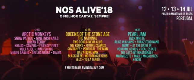 Cartaz do festival NOS Alive 2018.
