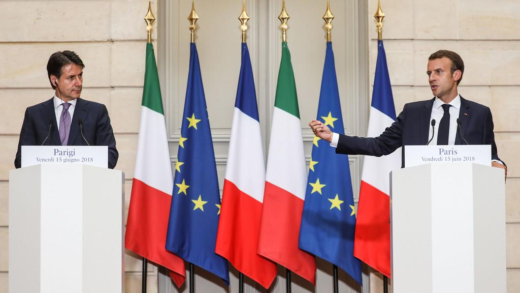 Cimeira entre Macron e Conte no Eliseu [Foto: Ludovic Marin/Getty]