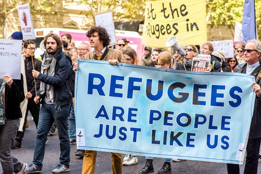 Protesto dos refugiados de Adelaide no Domingo de Ramos de 2017. Foto: Tess Purling e Dylan Binns