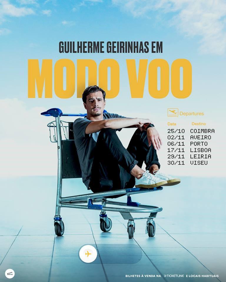 """Cartaz de divulgação do espetáculo """"Modo Voo"""", de Guilherme Geirinhas."""