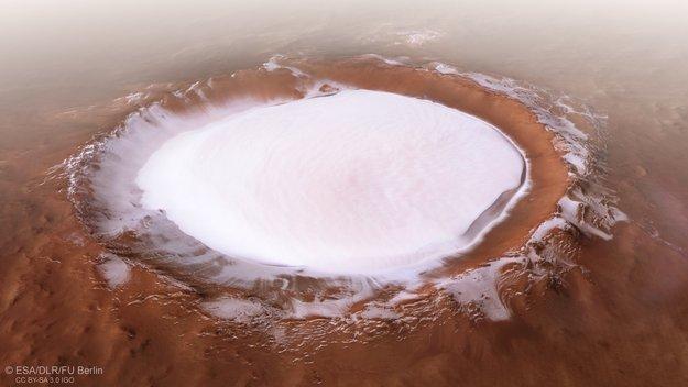 Imagem da cratera Korolev, em Marte. Fonte: ESA