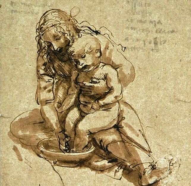 """""""Rapariga Lavando os Pés a Uma Criança"""", de Leonardo da Vinci."""