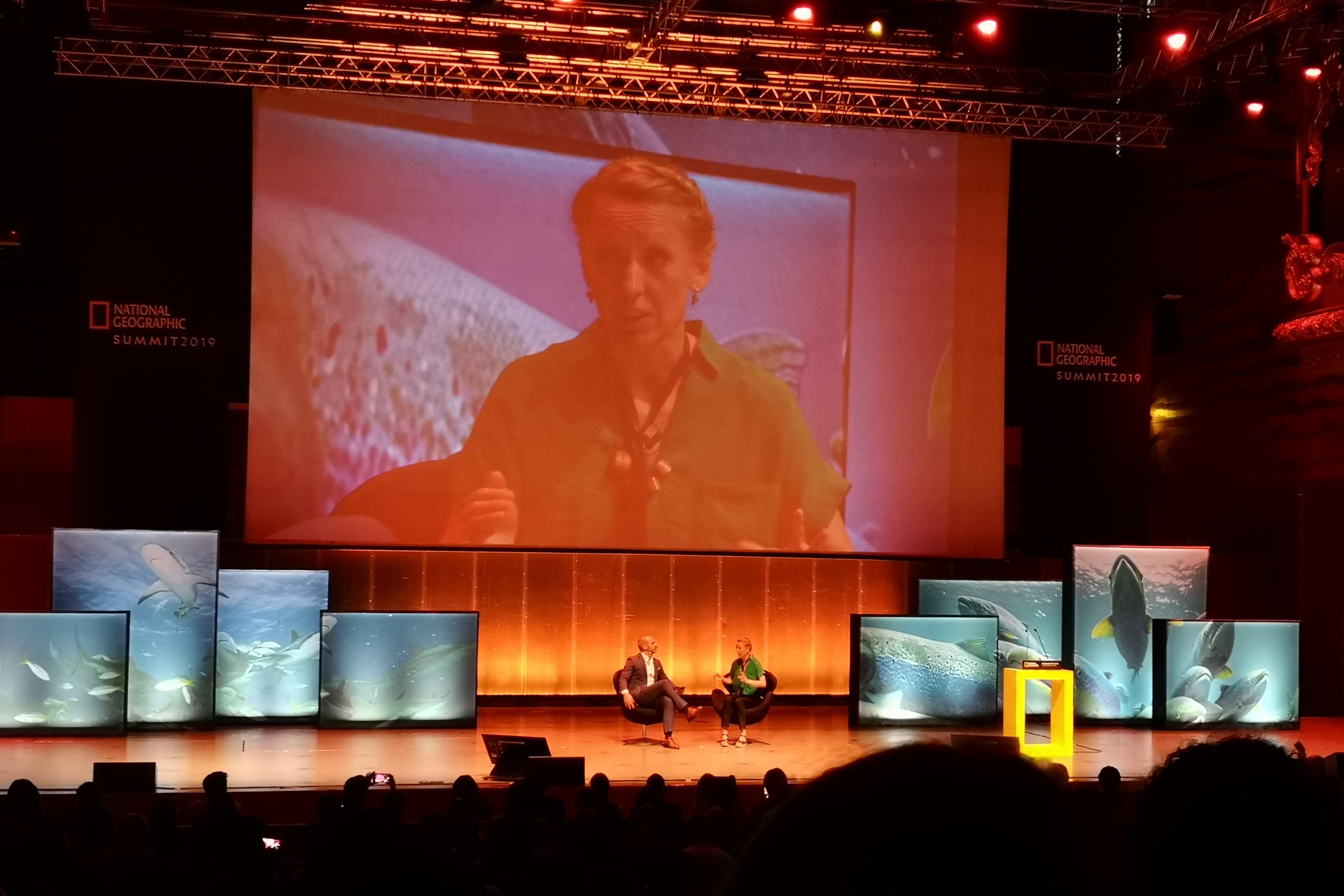 Lucy Hawkes no National Geographic Summit 2019. Fotografia: Mariana Miranda.