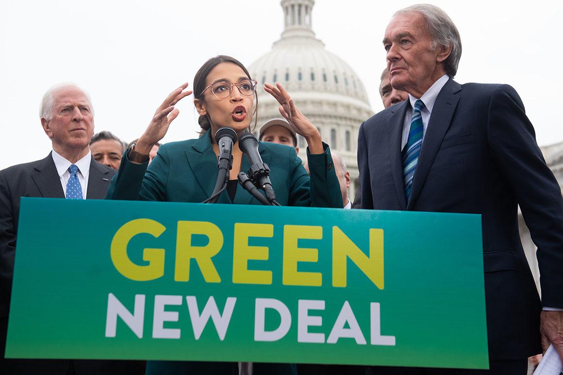 ALexandria apresenta o Green New Deal numa conferência de imprensa [Foto: Saul Loeb/Getty Images]