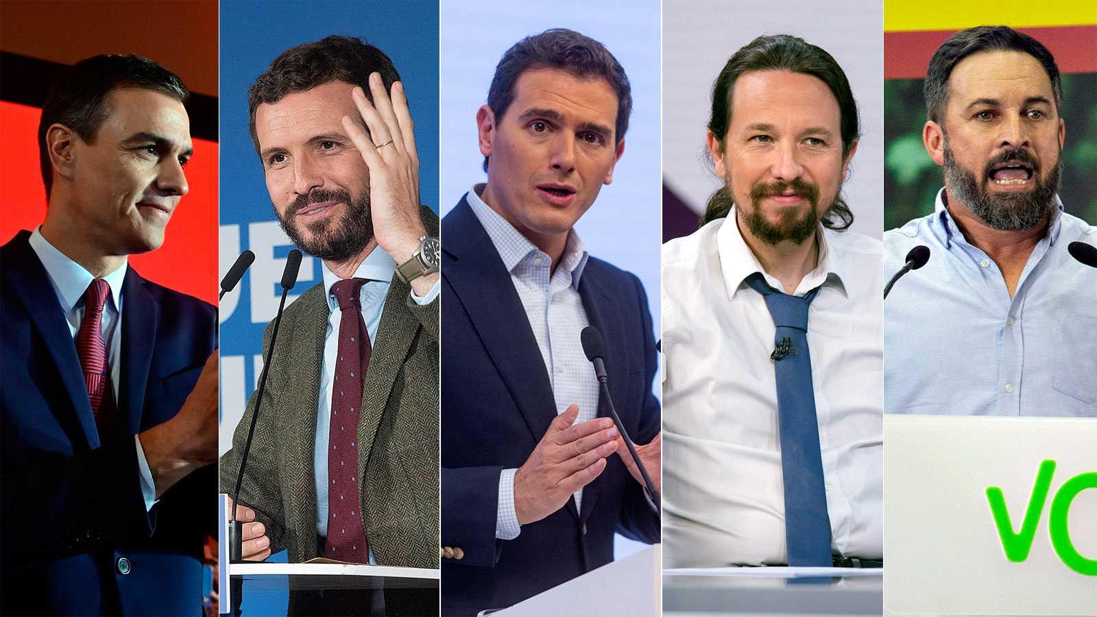 Imagem dos líderes dos cinco principais partidos de Espanha. Fonte: rtve.es