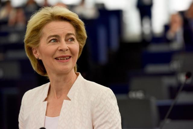 Ursula von der Leyen durante uma sessão no Parlamento Europeu. Foto: Comissão Europeia, 2019