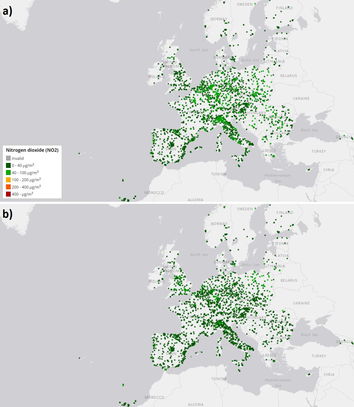 Evolução da qualidade do ar na Europa numa semana, em relação à concentração de dióxido de nitrogénio em: a) 17 de março às 22h; e b) 24 de março às 22h. Fonte: EEA