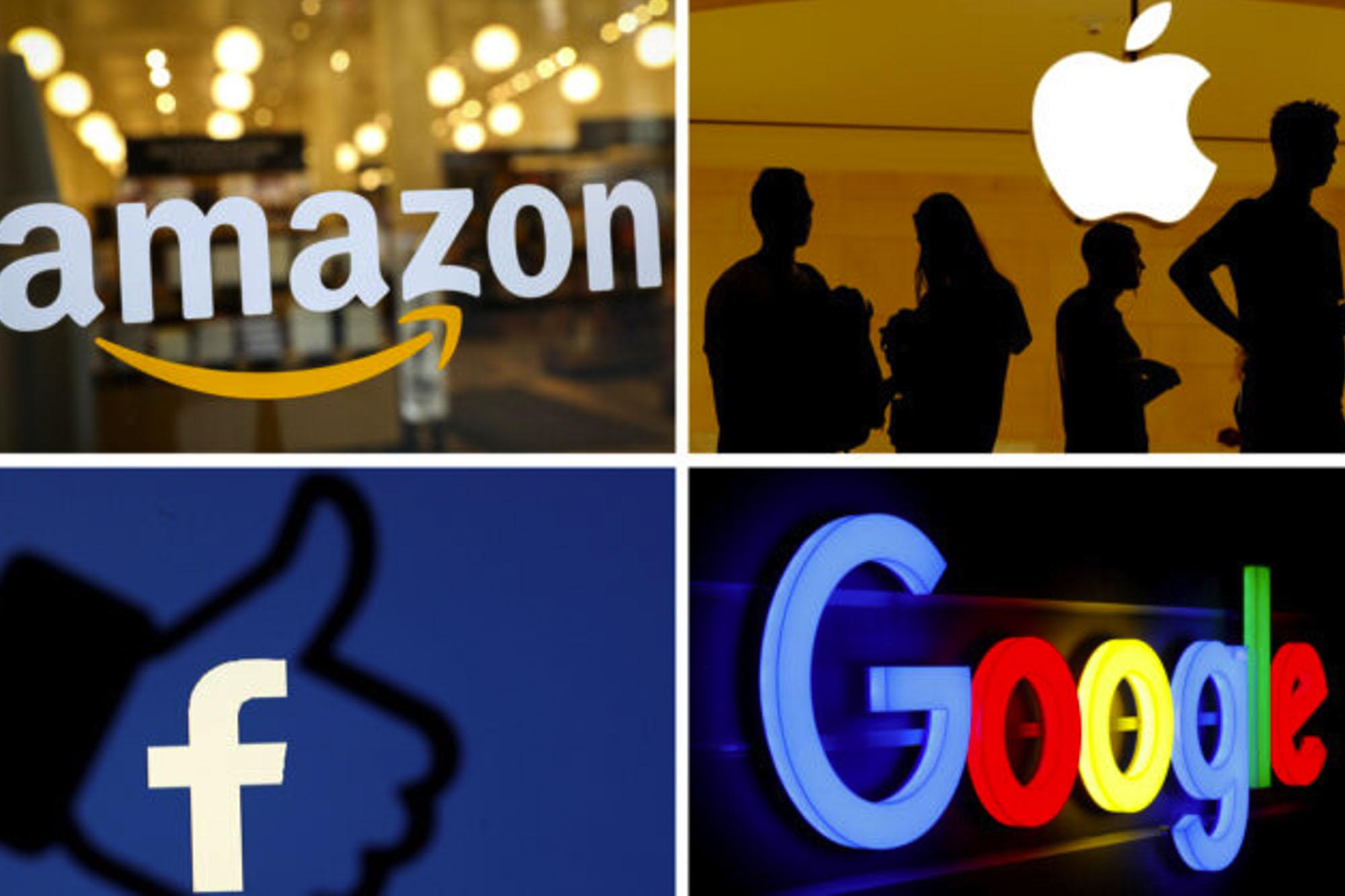 Alguns gigantes da chamada 'big tech': Amazon, Apple, Facebook e Google.